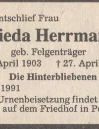 Danksagung Martha Frieda Herrmann geb. Felgenträger