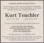 Totesanzeige Kurt Teuchler